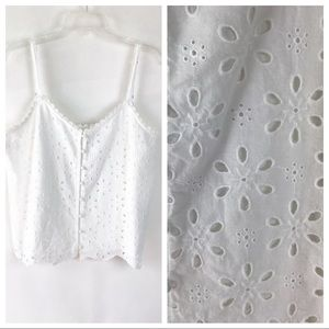 Abercrombie & Fitch White Eyelet Tank Large (A488)
